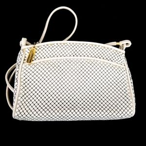 Vintage Whiting and Davis White Mesh Crossbody